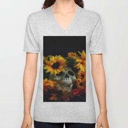Skull and Flowers Unisex V-Neck
