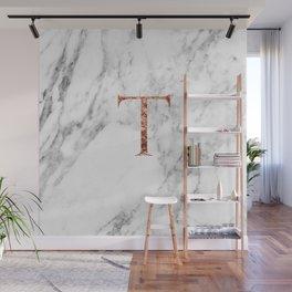 Monogram rose gold marble T Wall Mural