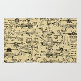 F-18 Blueprints // Tan Rug