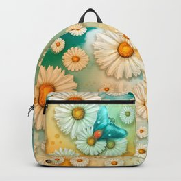 """Turquoise Moth &  Marguerites"" Backpack"