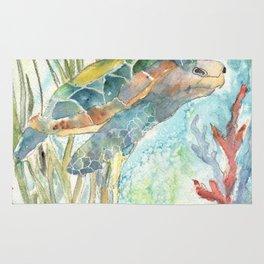 Underwater Fantasy Sea Turtle Rug