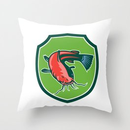 Catfish Mud Cat Black Bullhead Shield Retro Throw Pillow