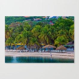 Man Alone on Tropical Resort Beach Canvas Print