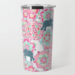 Tiny Elephants in Fields of Flowers Travel Mug