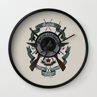 bucky Wall Clocks featuring Sgt Bucky Barnes (blue) by emptystarships