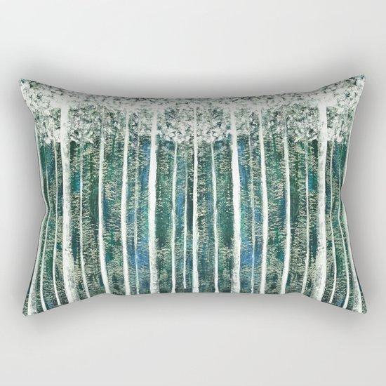 Hand Painted Green Christmas Jungle Rectangular Pillow