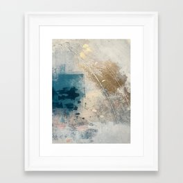 Embrace: a minimal, abstract mixed-media piece in blues and gold with a hint of pink Framed Art Print