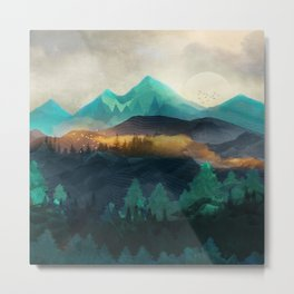 Green Wild Mountainside Metal Print