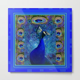 Decorative Abstracted Misty Blue Peacock Fantasy Art Metal Print