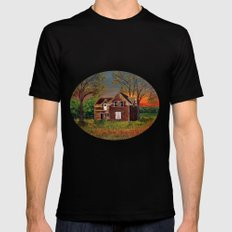 Old Farmhouse  Mens Fitted Tee Black LARGE