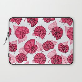 Pink Snails And Leaves Ink Drawn Pattern Laptop Sleeve