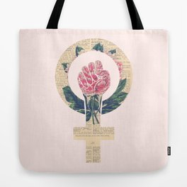 Respect, equality, women's liberation. Feminism Power Fist / Raised Fist Tote Bag