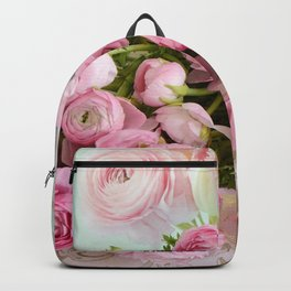 Shabby Chic Cottage Pink Floral Ranunculus Peonies Roses Print Home Decor Backpack