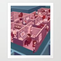 the office Art Prints featuring Office Romance by Jessy Gould