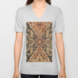 Geometric Leaves III // 18th Century Distressed Red Blue Green Colorful Ornate Accent Rug Pattern Unisex V-Neck