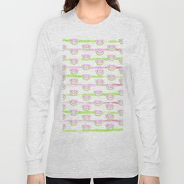 Modern pink lime green watercolor watermelon stripes Long Sleeve T-shirt