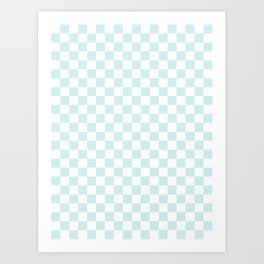 Small Checkered - White and Light Cyan Art Print