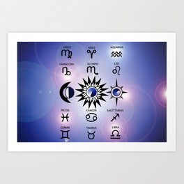 Zodiac Signs with The Moon The Sun and a Star Art Print