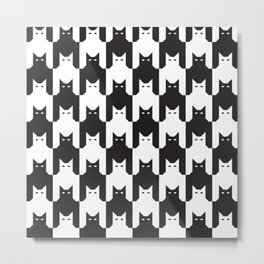 Cats Dog Tooth Pattern Metal Print