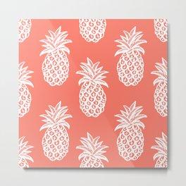 Sketched Tropical Pineapple Metal Print