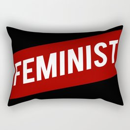 FEMINIST RED WHITE BANNER Rectangular Pillow