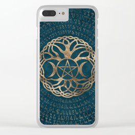 Triple Moon Goddess with pentagram and tree of life Clear iPhone Case