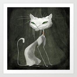 The White Cat Art Print
