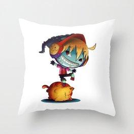 Dark Cat Monster Throw Pillow