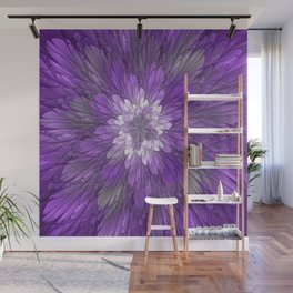 Psychedelic Purple Flower, Fractal Art Wall Mural