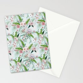 Tropical Flower Lt Blue Stationery Cards