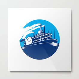 Steamboat Ferry Passenger Ship Retro Metal Print