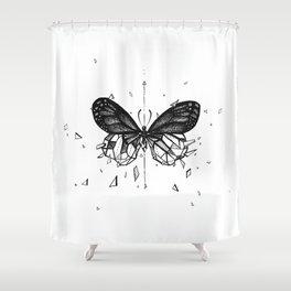 Geometric Butterfly - B&W Shower Curtain