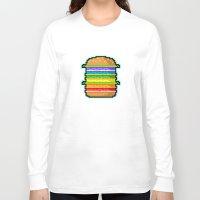 hamburger Long Sleeve T-shirts featuring Pixel Hamburger by Sombras Blancas Art & Design