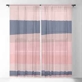 Groovy Stripes in Navy Blue and Pink Sheer Curtain
