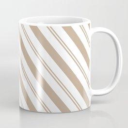 Pantone Hazelnut and White Stripes - Angled Lines Coffee Mug