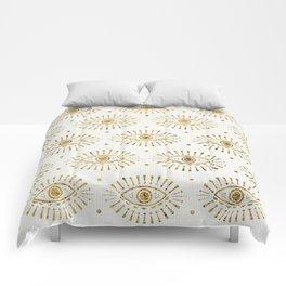 Evil Eyes Gold Comforters