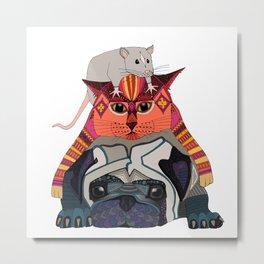 mouse cat pug white Metal Print