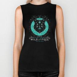 Wild & Free Wolf – Turquoise & Grey Biker Tank