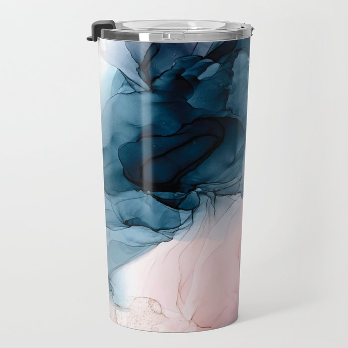 Pastel Plum, Deep Blue, Blush and Gold Abstract Painting Travel Mug