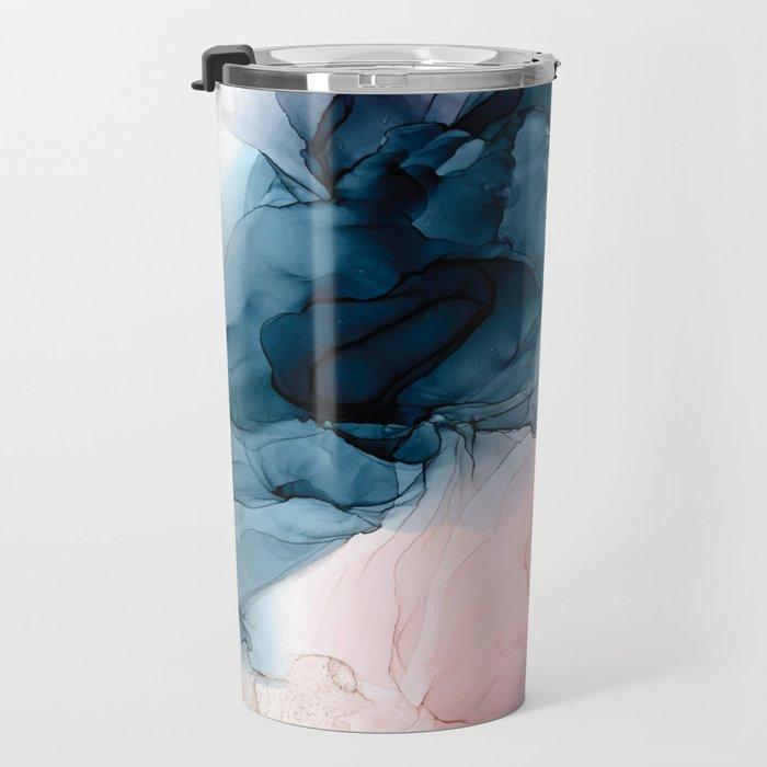 Pastel Plum, Deep Blue, Blush and Gold Abstract Painting Travel Mug