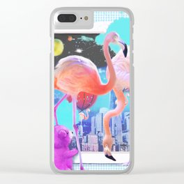 WATCHING FLAMINGOS Clear iPhone Case