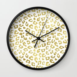 Glam Gold Cheetah Animal Print Wall Clock