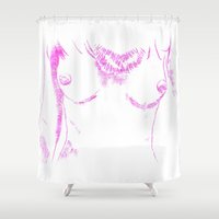 boob Shower Curtains featuring Feme II by Tamara Arroba