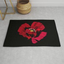 Seasons K Designs Red Poppy on Black Print Rug