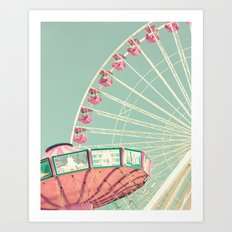Pink and mint nursery composition Art Print