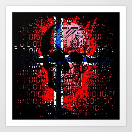 Skull circuit (norway-flag) Art Print