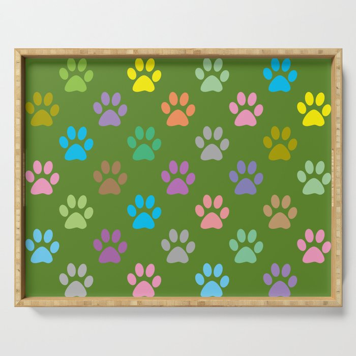 Colorful paws pattern Serving Tray