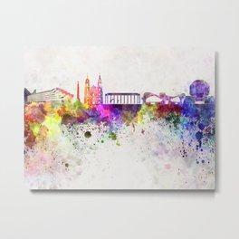 Minsk skyline in watercolor background Metal Print