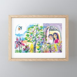 Looking out of the window, illustration for kids, fairytale painting Framed Mini Art Print