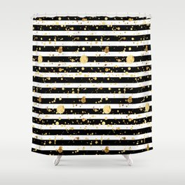 Stripes & Gold Splatter - Horizontal Shower Curtain